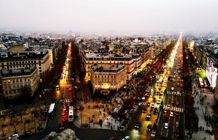 Traffic Cityscape City Street Outdoors Road Architecture Aerial View Bridge - Man Made Structure Travel Destinations Built Structure Arc De Triomphe, Paris