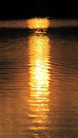 Reflection of sky in water at sunset