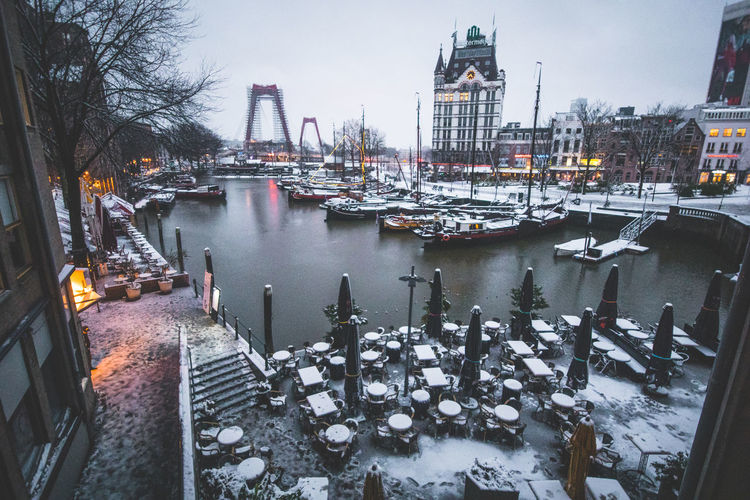 Snowy harbor in
