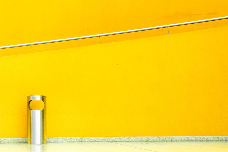Absence Architecture Built Structure Close-up Copy Space Day Flooring Hoffi99 Indoors  Metal No People Orange Color Railing Simplicity Single Object Still Life Vibrant Color Wall Wall - Building Feature Yellow The Architect - 2018 EyeEm Awards