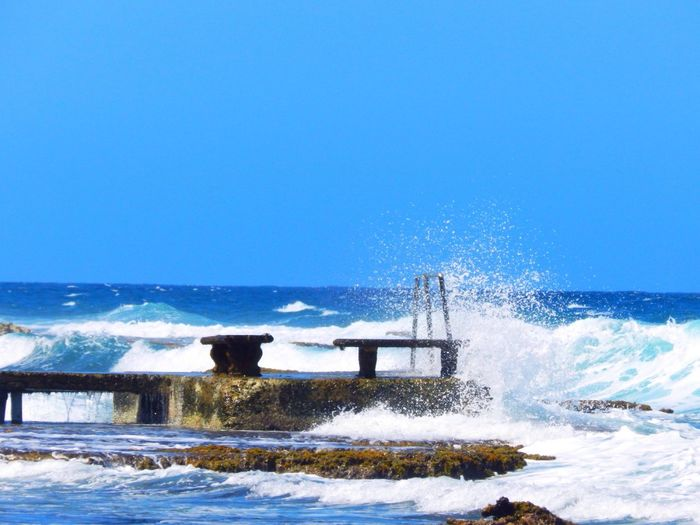 Blue Wave Relaxing Tropical Sea And Sky Seaside Beach Jamaica Seascape Splash Paradise Islandlife EyeEm Best Shots EyeEm Nature Lover My Favorite Photo Tranquility Summer Life Is A Beach Traveling Travel Photography The Week On Eyem Travel Landscape Landscape_Collection Check This Out