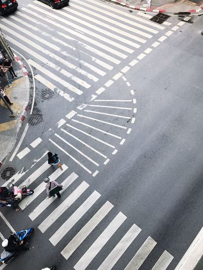 Zebra Crossing Road Marking High Angle View Street Road City City Street Crossing Transportation Walking City Life Large Group Of People Asphalt Pedestrian Road Intersection Day Outdoors People Rush Hour Bicycle