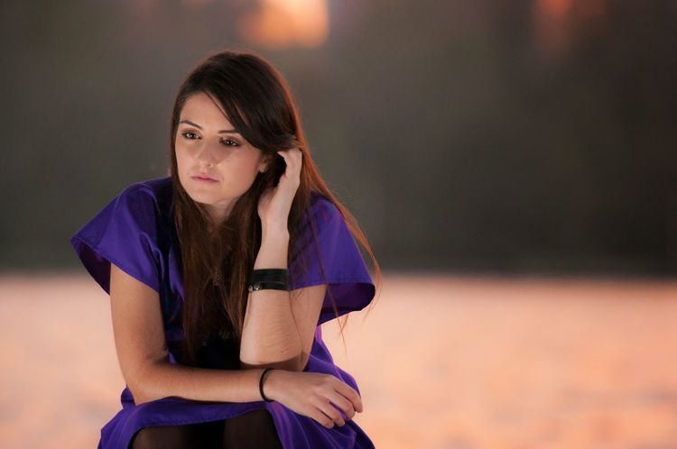 no smile allowed Girl Woman Young Woman Adult One Person Outdoors Sunset Day Daylight Purple Dress Sad Thoughts Thinking Nikon Nikonphotography Breakup Outdoor Photography Sky Sunlight Romania Daylight Photography Separation Love Yourself