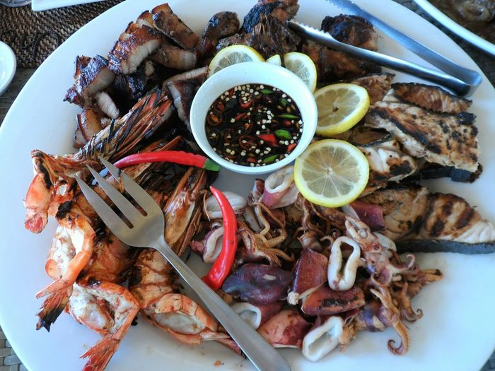 High angle view of seafood in plate on table