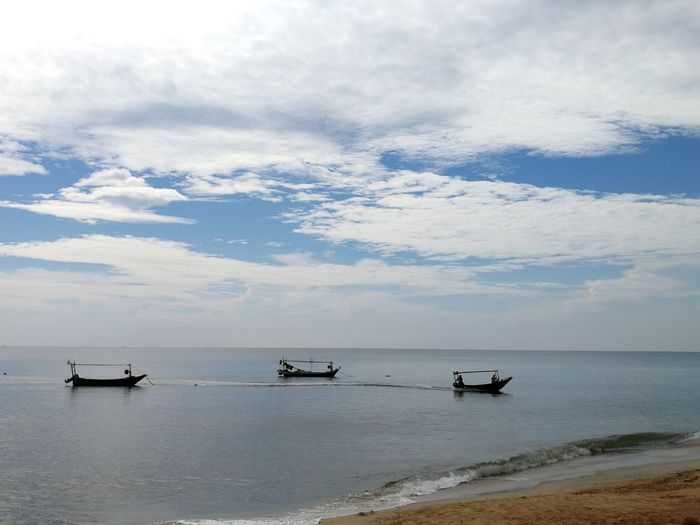 Nautical Vessel Water Sea Beach Tranquility Scenics Cloud - Sky Tranquil Scene Nature Outdoors Day Landscape No People Beauty In Nature Horizon Over Water Sky Fishing Boat Kuala Terengganu Malaysia Let's Go. Together. Been There.
