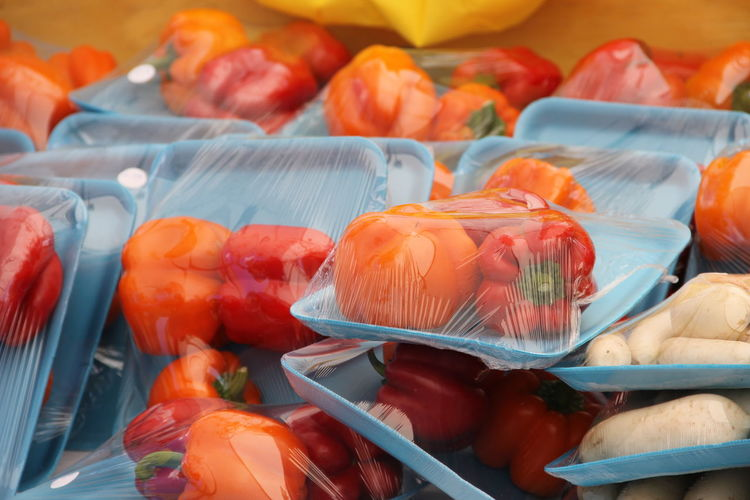 Close-up of vegetables in plastic