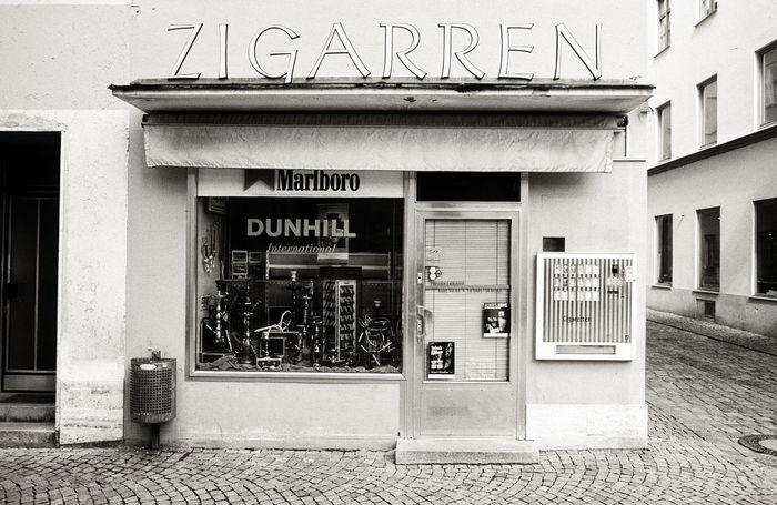 Zigarren Advertising Analog Architecture Bavaria Blackandwhite Built Structure Day Film Information Information Sign No People Outdoors Shop Shopping Text Western Script