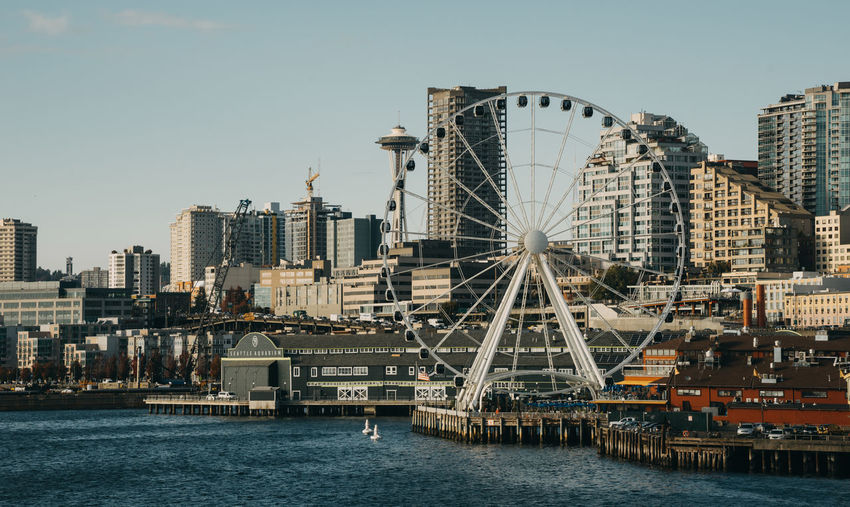 Seattle cityscape with ferry wheel
