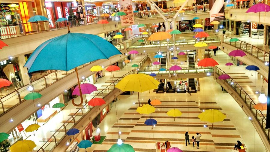 Umbrella Art Hanging Decorations Monsoon Festival Shopping Mall Colors Decoration Lights Taking Photos Leisure Time Saturday Night