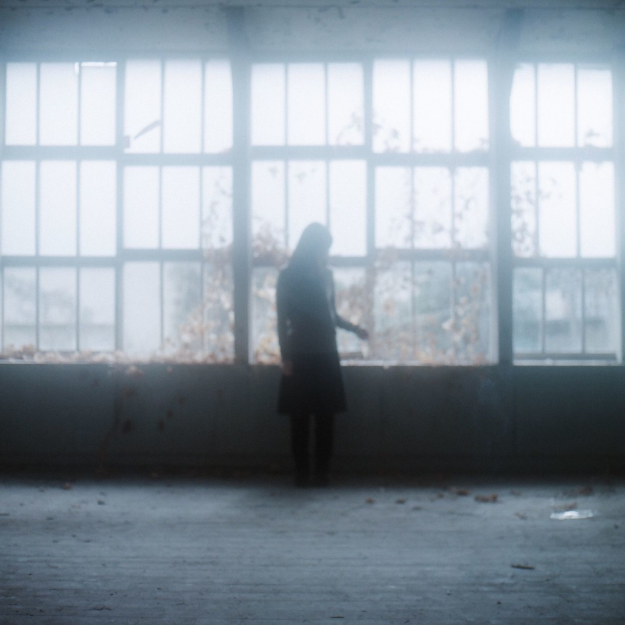 window, indoors, one person, real people, full length, rear view, day, silhouette, lifestyles, women, people