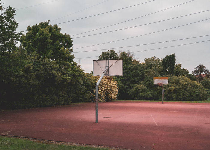 Plant Tree Cable Nature No People Sky Sport Electricity  Day Power Line  Outdoors Road Basketball - Sport Court Architecture Basketball Hoop Built Structure Empty Technology Growth Power Supply Basketball Court