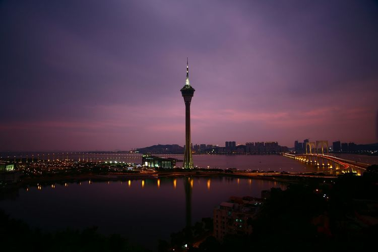 High Angle View Of Macau Tower During Sunset