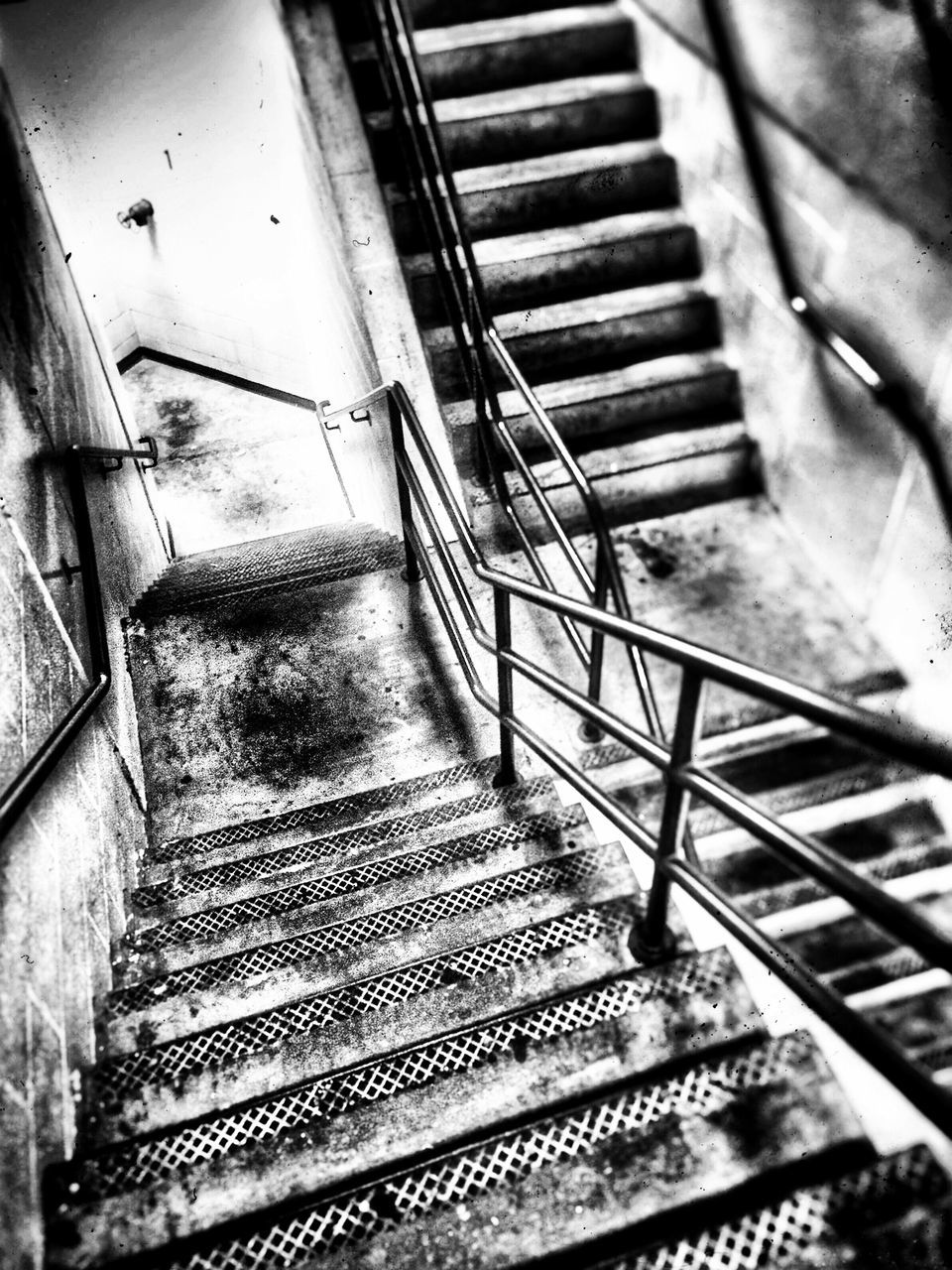 steps and staircases, staircase, steps, railing, indoors, high angle view, stairs, no people, food and drink, hand rail, day, close-up