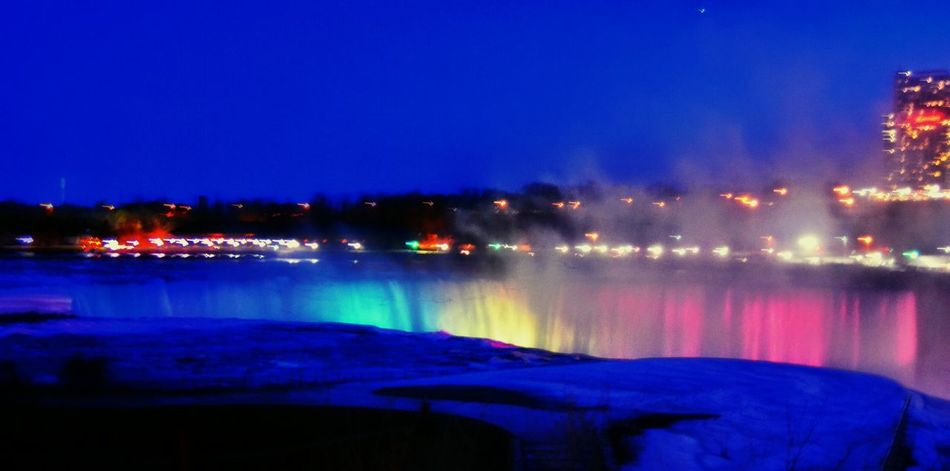 Niagarafalls Niagara Falls Colors NiagaraAtNight Niagara Skyline Nightphotography Night Nightsky Evening Sky Landmark Night Lights NiagaraChilled