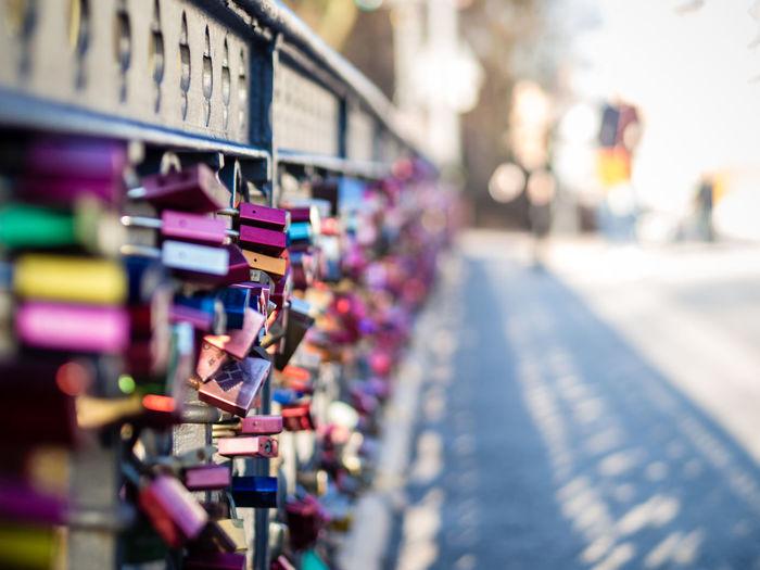 love locks on Schwanenwik bridge Bridge Bright Close-up Day Focus Large Group Of Objects Locks Locks Of Love Multi Colored No People Outdoors