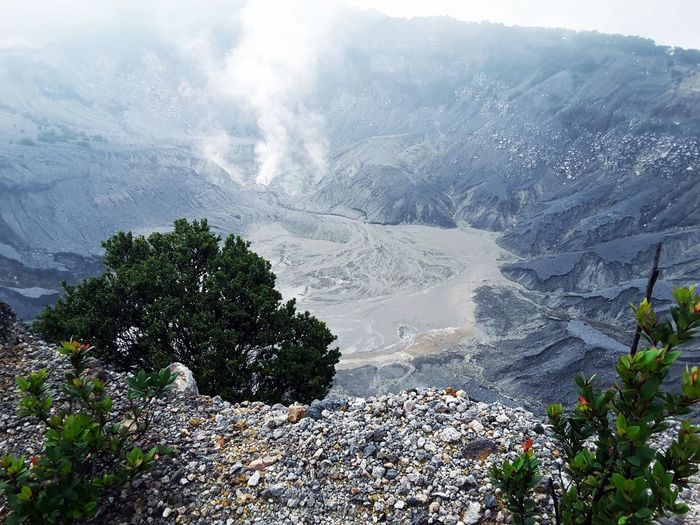 Crater of Tangkuban Perahu Mountain Crater Smoke Mountain View Volcano Crater