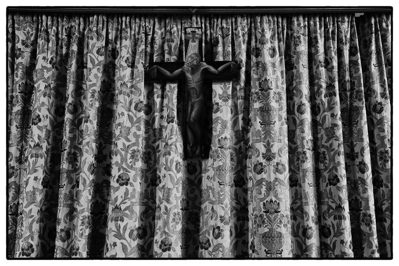 Religious Effigy Backgrounds Close-up Curtain Day Drapes  Full Length Hanging Indoors  No People