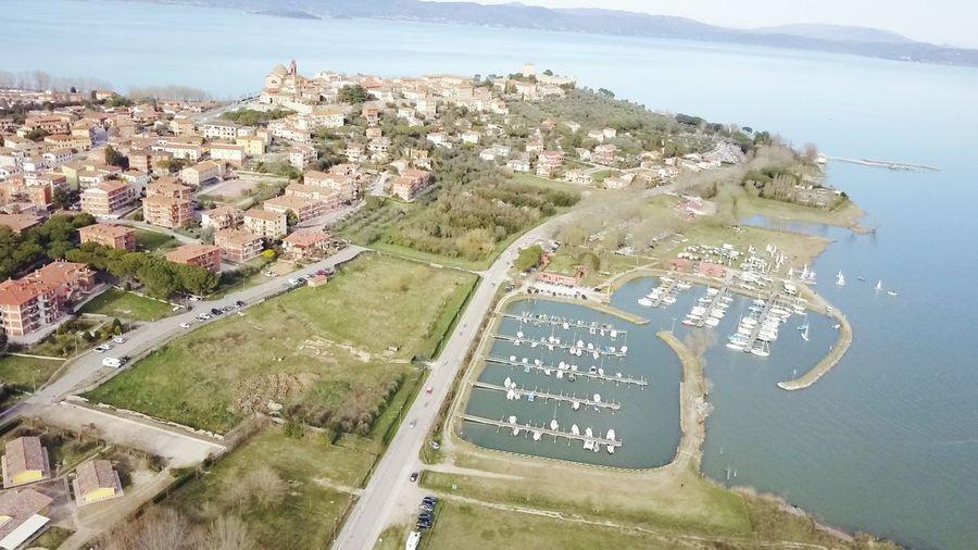Air Dji Drone  DJI Mavic Pro Dronephotography Aerial View High Angle View Landscape Beach Water Day City Sea Outdoors Sky Nature Cityscape Castiglione Del Lago Umbria, Italy