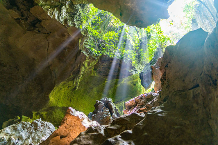ASIA Bukitlawang Far East INDONESIA Light Beam Rays Of Light Rock Rock Formation Sumatra  Bat Cave Cave Caves Jungle Light And Shadow No People