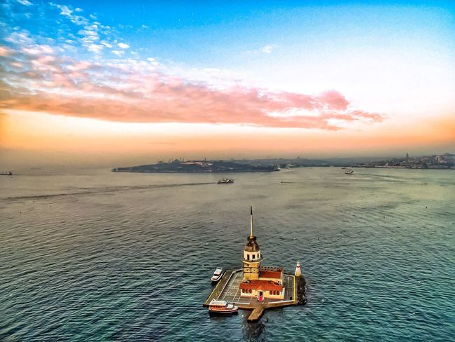 A Bird's Eye View Nautical Vessel Transportation Water Mode Of Transport Boat High Angle View Tranquil Scene Scenics Tranquility Nature Sea Sky Beauty In Nature Waterfront Cloud - Sky Travel Destinations Sailing Journey Tourism Outdoors Kızkulesi Maidenstower Istanbul Drone  Lost In The Landscape