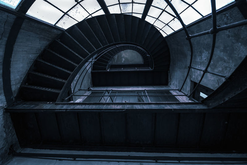 Architecture Staircase Built Structure Steps And Staircases Railing Indoors  Spiral Spiral Staircase No People Day Pattern Empty Diminishing Perspective Directly Above Absence High Angle View Abandoned Building Ceiling Directly Below