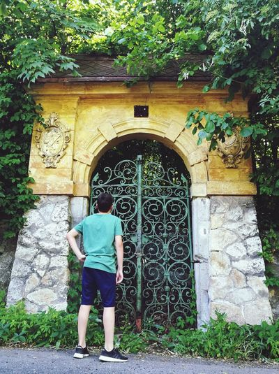 The Green Wrought Iron Gate Hungary Buda Green Iron Gate Irongate Green Gate Outdoors Built Structure Arch Old School Gate Old School Romance Tree EyeEm New Here Wrought Iron Gates