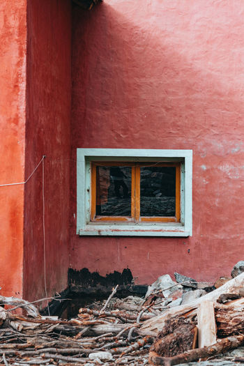 Window of a mountain refuge