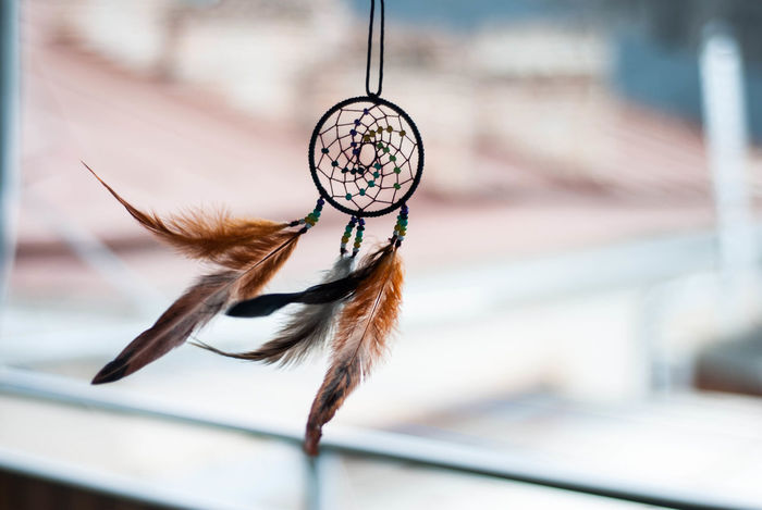 Close-up Day Dreamcatcher Feather  Focus On Foreground Hanging No People