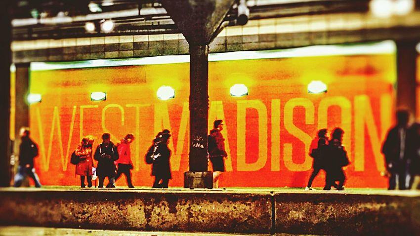 Chicago Bus Stop Busy Rush Hour Train Station Tunnel Madison Avenue EyeemUnitedStates Eyeemchicago EyeEm Best Shots Eye4photography  EyeEm Gallery EyeEmBestPics EyeEm Best Edits Eyeemurbanshot IPhoneography Iphoneonly IPhone Amateurphotography Amateurphotographer  Bright Colors Lights
