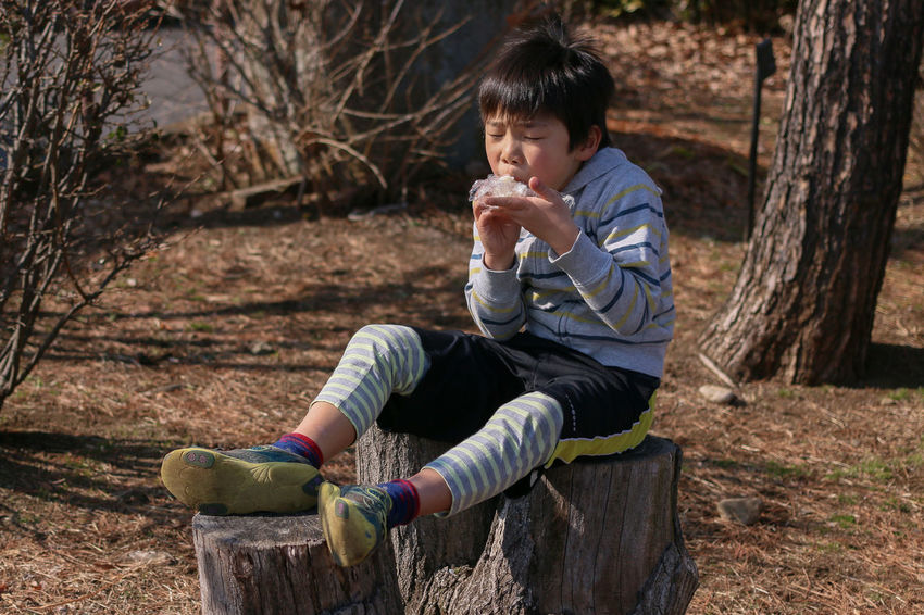 My Son Eating Onigiri Cycling Cycling Load Tree Stump EyeEm EyeEm Best Shots Tokyo Japan My son is eating the Onigiri with ride on the tree stump of cycling load.