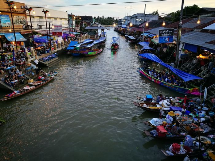 Floating Market High Angle View Canal Transportation Nautical Vessel Mode Of Transport Travel Destinations Large Group Of People Crowd Gondola - Traditional Boat Outdoors Water Architecture City Bridge - Man Made Structure Extreme Weather Cityscape People Day Adults Only Adult
