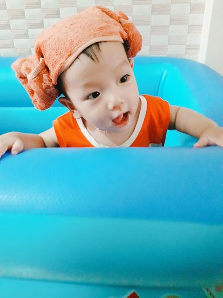 Child Portrait Swimming Pool Childhood Smiling Learning Playing Looking At Camera Happiness Cute