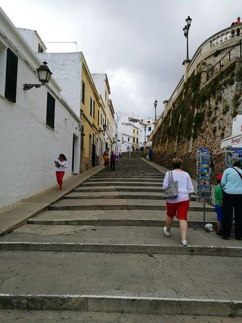 Cuitadella Steps Cloudy Skies Menorca Walls People Walking  Old Town