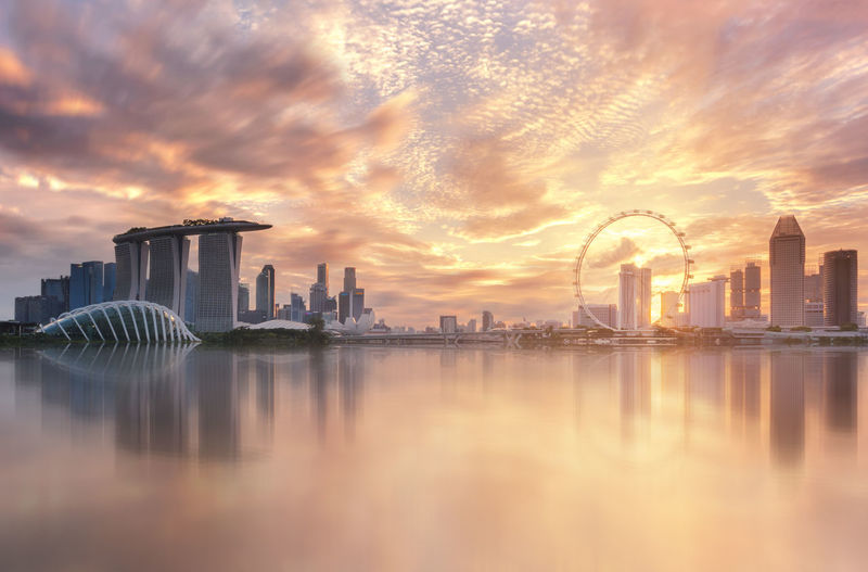 Singapore city Marina bay landmark view sunset beautiful sky cloud color with shadow reflection Travel Flyer Landscape Merlion City Cityscape Downtown Gardens By The Bay Marina Marina Bay Sands Singapore Bay Helix Bridge Landmark Marina Barrage Popular Tourism