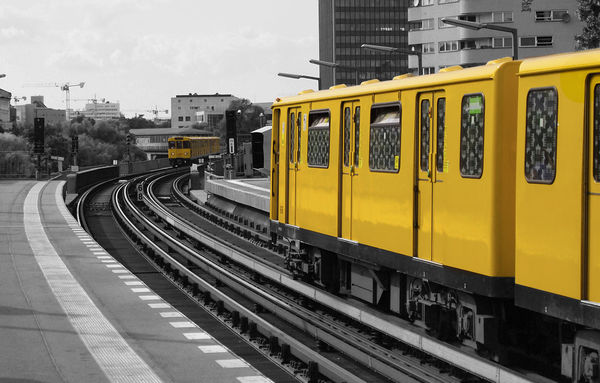 Berlin Blackandwhite City Life Journey Leading Mode Of Transport Passenger Train Perspective Public Transport Public Transportation Rail Transportation Railroad Station Railroad Station Platform Railroad Track Railway Station Railway Station Platform Railway Track Selective Color The Way Forward Train Train - Vehicle Transportation Travel Urban colorsplash Yellow