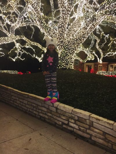 Stepdaughter Stepdaughther Princess Littlegirl Lights In The City Lightshow Texas Houston One Person Real People Standing Full Length Illuminated Childhood Night Tree Outdoors People Architecture