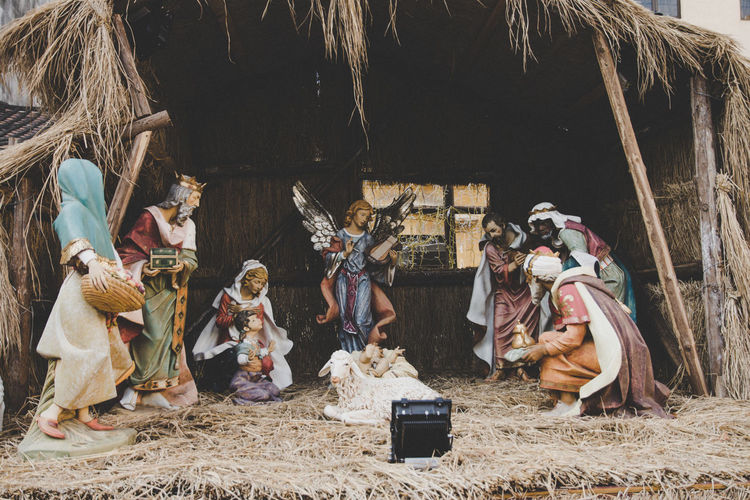 Close-up of nativity scene