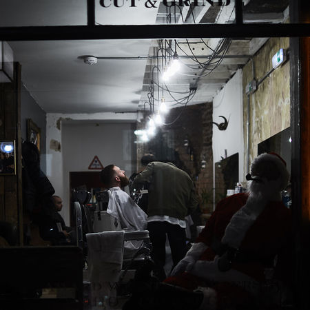 Barber Shop Barber Shop Window London London Streets Night Photography Rupert Hitchcox, Through A Window Street Photography