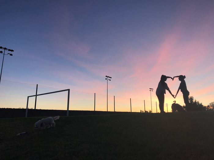 love love love Domestic Animals Sunset Mammal Animal Themes Dog Silhouette Press For Progress Pets Nature Sky Friendship Real People People Press For Progress