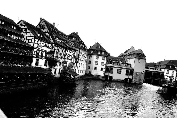 strasbourg b/w B/W Photography EyeEmNewHere France Strasbourg Strasbourg♥ Architecture Black And White Blackandwhite Built Structure Canal Europe No People Outdoors Water Waterfront