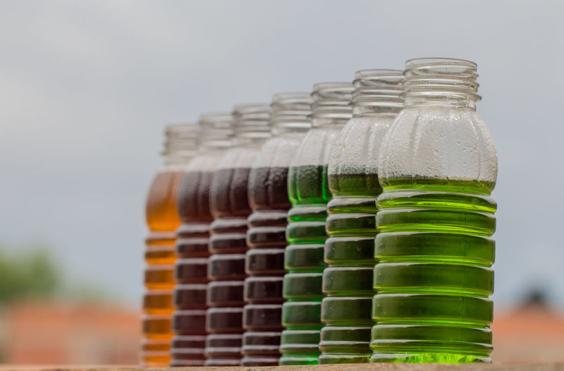 Close-Up Of Drinks In Plastic Bottles
