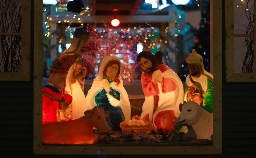 Christmas Christmas Lights Holiday Holidays Winter Baby Jesus Creche Decorations Illuminated Indoors  Mall Nativity Night