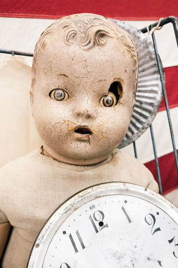 Broken Doll Weird Vintage Time Watch Spooky Halloween Chucky Close-up Representation No People Indoors  Clock Number Human Representation Still Life Art And Craft Creativity Instrument Of Time Metal Male Likeness Sculpture Craft Statue Day