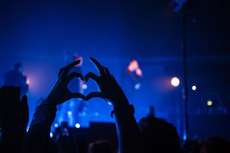 Friends making heart shape at music concert