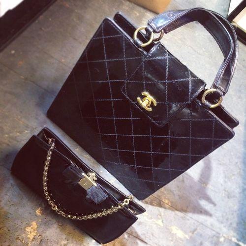 Chanel Vintage Black And White Ferragamo