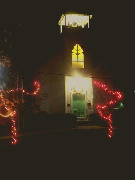 Illuminated Night Christmas Tree Christmas Decoration No People Church Spooky Creepy Creepy Places
