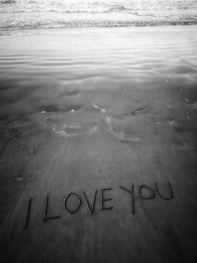 I love you Black And White Fine Art Landscape Seascape Fine Art Photography Amazing View Amazing EyeEm Backgrounds Wallpaper I Love You I Love Beach Communication Single Word Text Handwriting  Direction Western Script Close-up Written Short Phrase