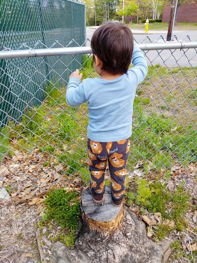 Rear view of boy standing by chainlink fence