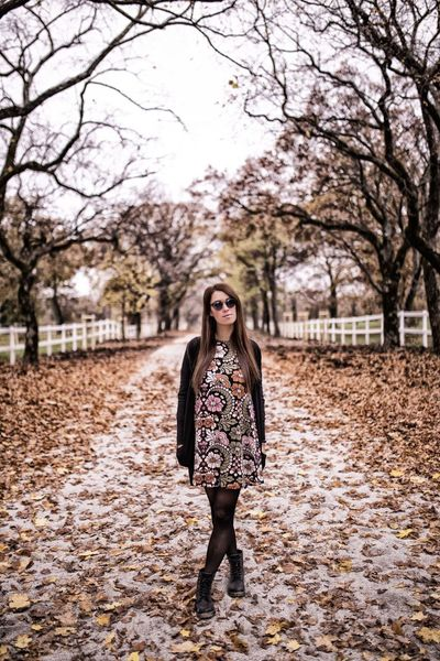 Tree Young Adult Autumn Only Women One Woman Only Brown Hair One Person Beauty Long Hair Full Length Standing Fashion Adults Only People Beautiful People One Young Woman Only Outdoors Nature Women Adult Fashion Glamour Sunglasses