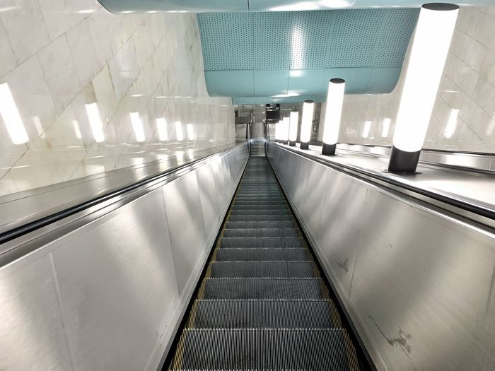 View of empty escalator in subway